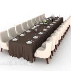 طاولة حفلة طويلة متعددة المقاعد