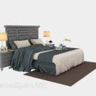 Mediterranes Bett mit Teppich