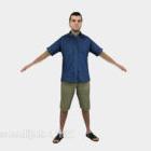 Carattere della camicia blu degli uomini