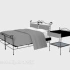 سرير مزدوج معدني مع منضدة