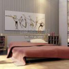 Modern Bedroom With Back Wall Decor
