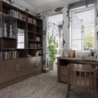 Moderna sala studio con set di mobili