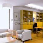 Interiore moderno della vernice gialla della stanza di studio