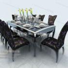 Modern svart åtta-person tabell