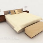 Modern Home Simple Warm Yellow Double Bed