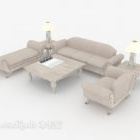 Modern Light-colored Sofa Full Sets