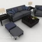 Nowoczesna minimalistyczna sofa w kolorze szaro-niebieskim