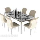 Tavolo da pranzo minimalista moderno per sei persone