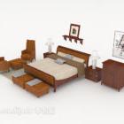 Minimalistisches Doppelbett aus Holz im chinesischen Stil
