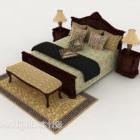 Klassisches Retro-Doppelbett im chinesischen Stil
