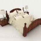 Einfaches Doppelbett aus Holz im chinesischen Stil