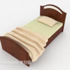 Neues einfaches Einzelbett aus Holz im chinesischen Stil