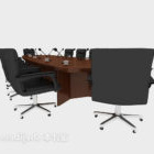 Office Meeting Solid Wood Table Chair Set