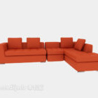 أريكة عادية متعددة المقاعد باللون البرتقالي