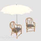 كرسي صالة في الهواء الطلق مع مظلة