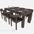 طاولة طعام من الخشب الصلب ذات النمط الرعوي