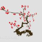 البرقوق رسمت شجرة الجدار