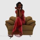 赤いドレスの美少女キャラクター
