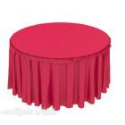 Runder Esstisch aus rotem Stoff