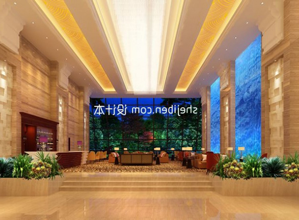 Sales Hall With Ceiling Decor Interior