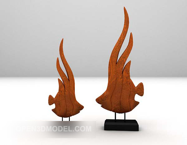 Wooden Fish Sculpture On Stand