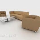 Prosta brązowa sofa wypoczynkowa