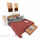 سرير مزدوج بسيط بطانية حمراء