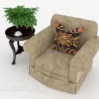 Simple Gray-brown Single Sofa