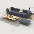 Prosta sofa domowa w kolorze ciemnoszarym