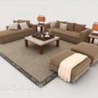 Prosta sofa jasnobrązowa z drewna