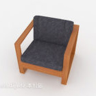 Semplice divano singolo in legno tessuto grigio