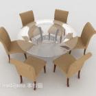 Combinazione di tavolo e sedia per sei persone