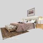 سرير خشب حديث مع منضدة