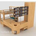 Tempat Tidur Berkayu Pepejal Dengan Rak Buku