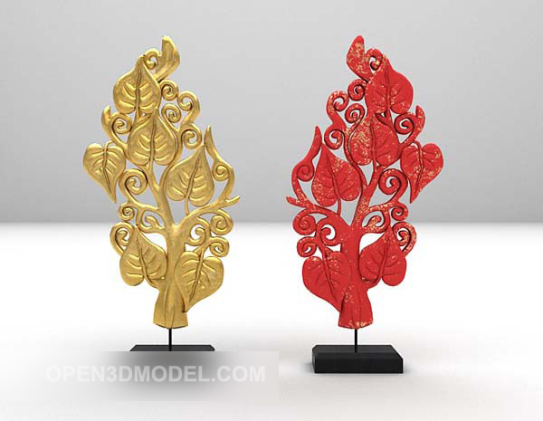Asian Leaf Shaped Carving On Stand