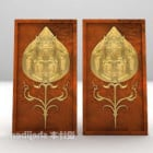 Golden Artwork With Carving Decoration