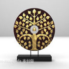 Asian Ring Of Golden Carving On Stand