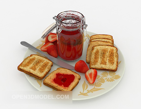 Strawberry Jam And Bread Slices