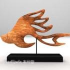 Wood Carving Fish Shaped Artwork