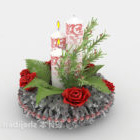 Candle Decoration With Flower