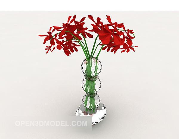 Vase Decoration Set Red Flower