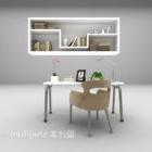 Kerusi Meja Moden Putih Dengan Rak Buku