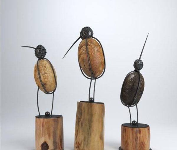 Wood Base Bird Figurine Decor