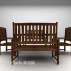 طاولة وكرسي عتيقان بلون الخشب