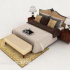 Træmønstret møbel med dobbeltseng