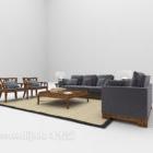 تنجيد الخشب أريكة قماش رمادي