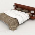 سرير مزدوج مقلم بالخشب