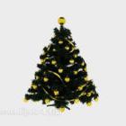 Christmas Tree With Yellow Balls Decor