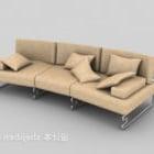 पीला चमड़ा बहु-सीट सोफा