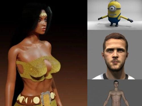 10 Blendإيه شخصيات مجموعة نماذج ثلاثية الأبعاد مجانية